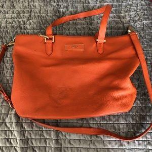 DKNY orange leather satchel